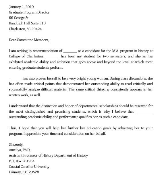 Sample Letter of Recommendation for Graduate School from Friend