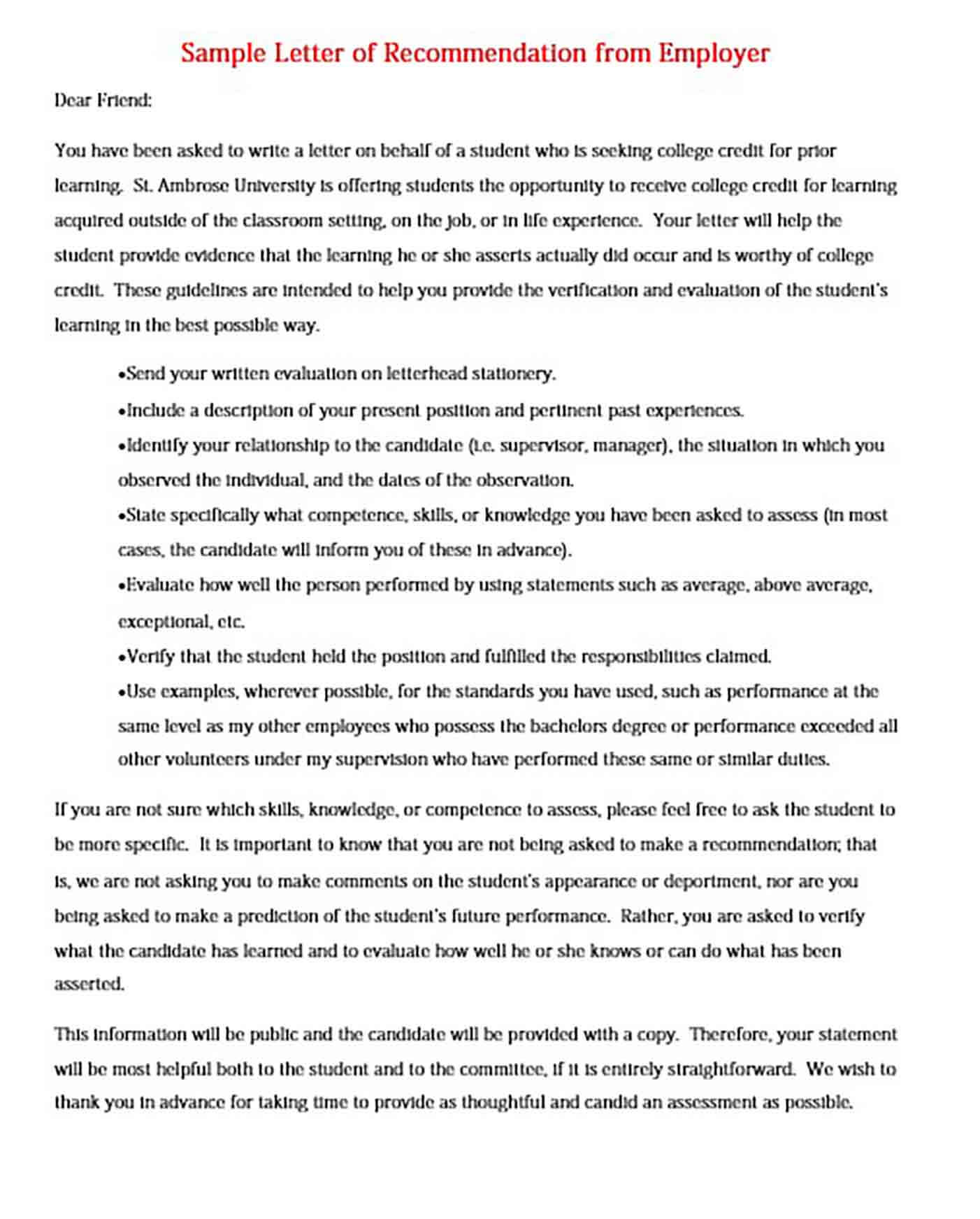 Sample Letter of Recommendation from Employer