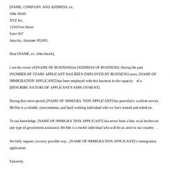 Sample Letters for Employer Support Of Immigration Application