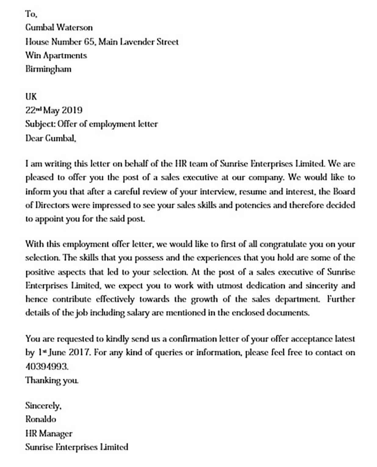 Sample Offer of Employment Letter