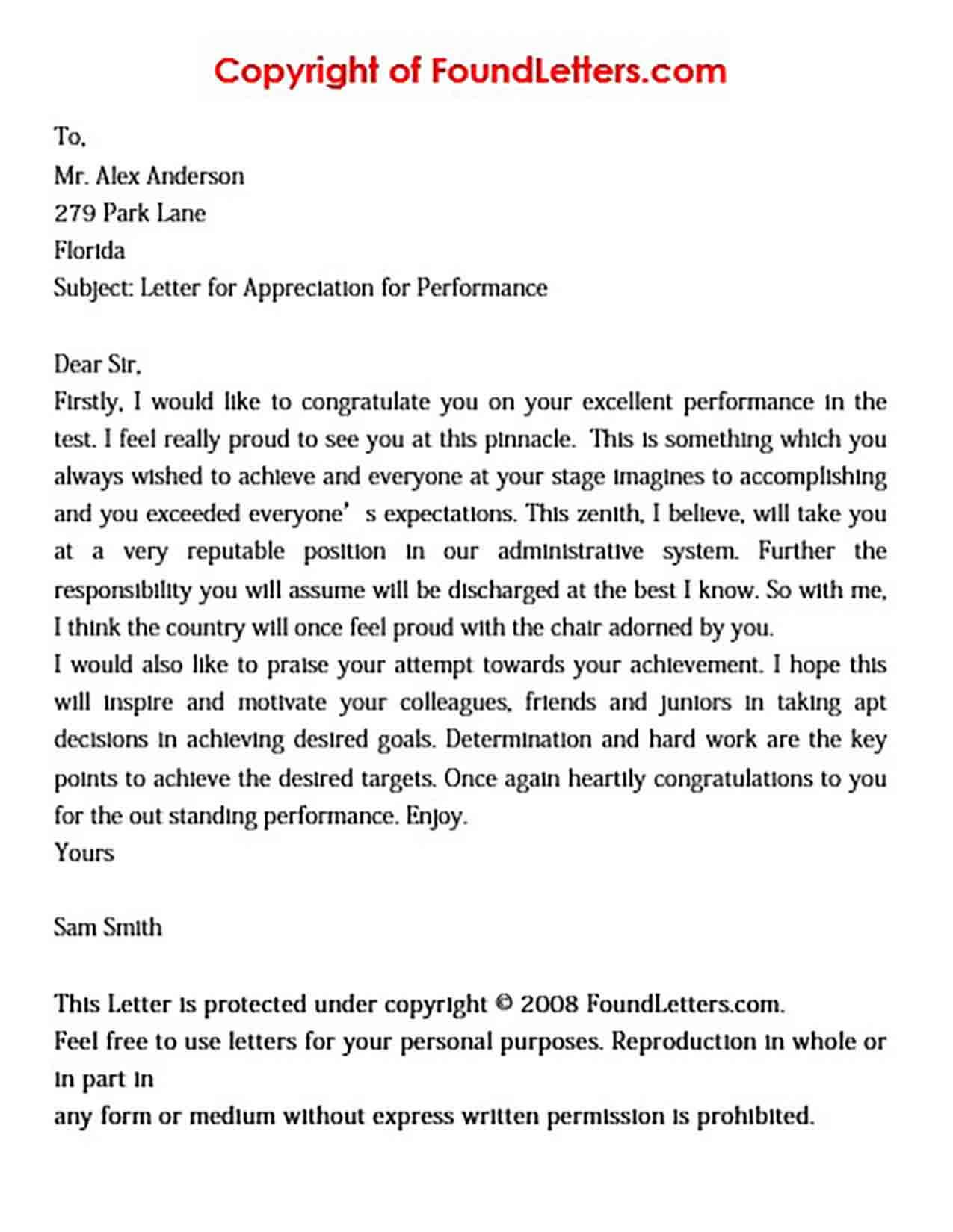 Sample Performance Appreciation Letter