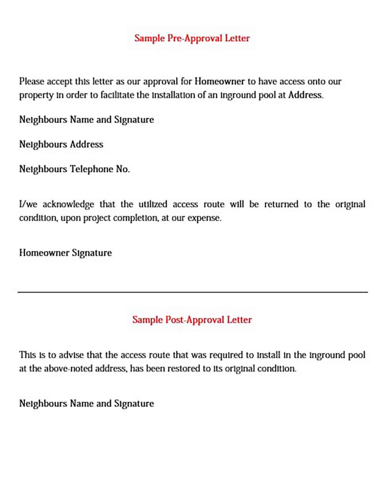 Sample Pre Approval Letter