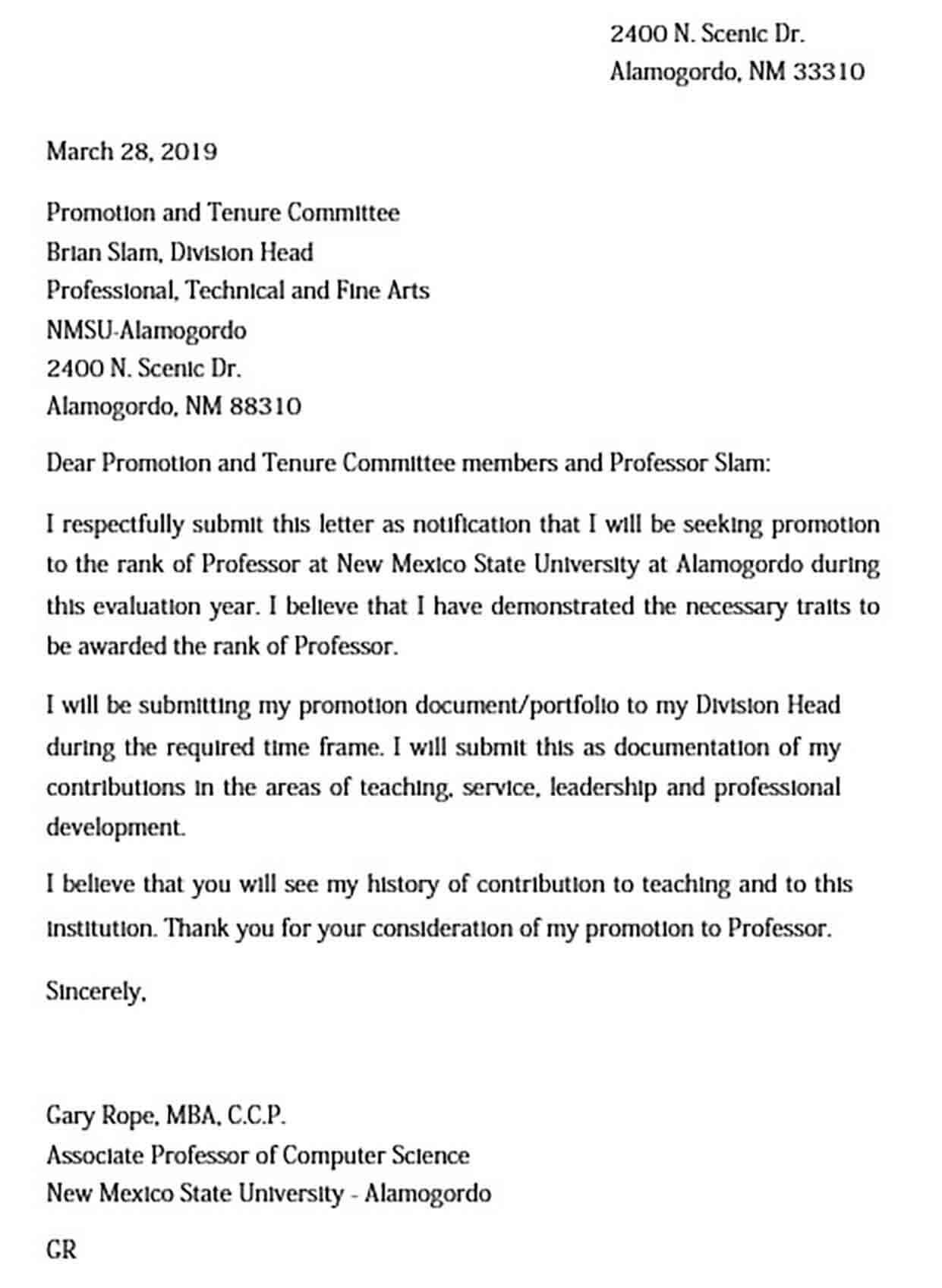 Sample Printable Promotion Letter