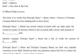 Sample Proof of Funds Letter