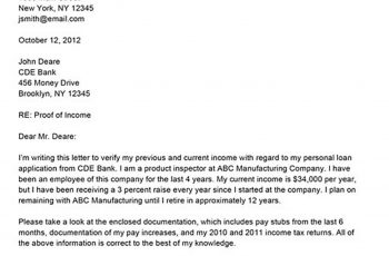 Sample Proof of Income Letter