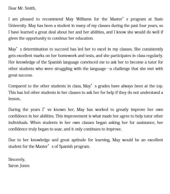 Sample Recommendation Letter for Spanish Graduate School