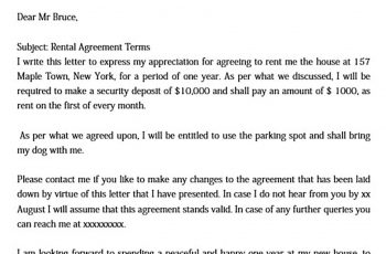 Sample Rent Agreement Letter