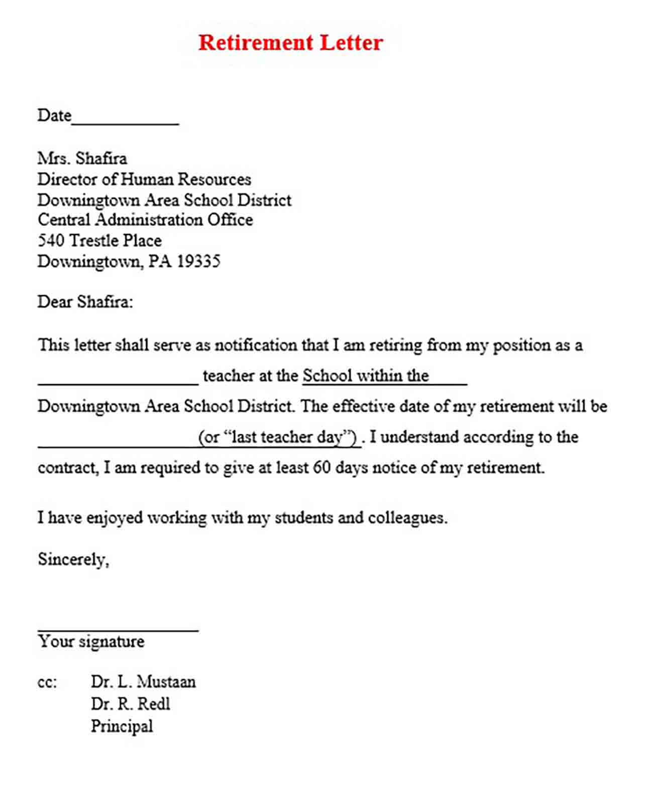 Teacher Retirement Letter Examples from moussyusa.com