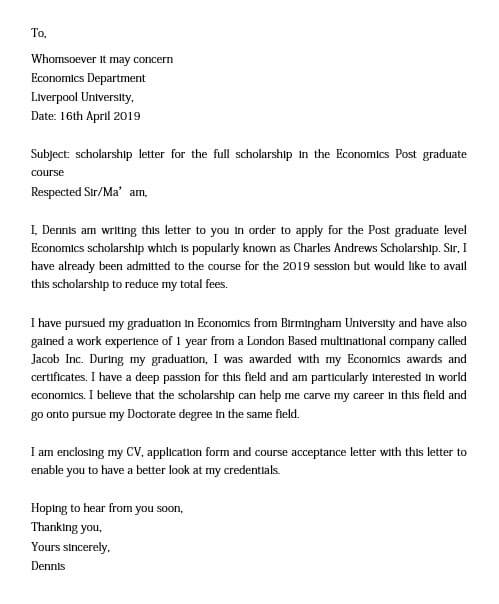 Sample Scholarship Application Letter