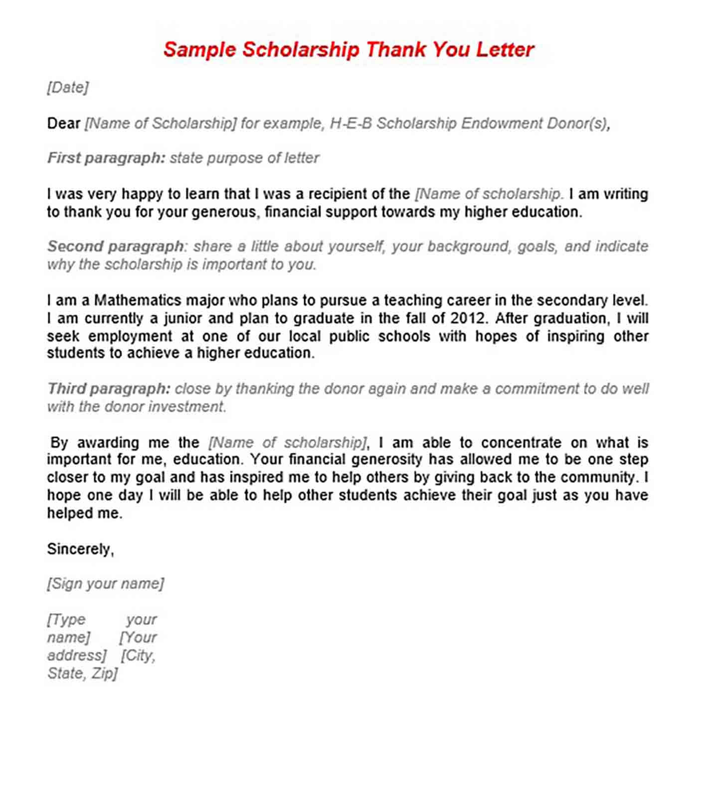 11  scholarship thank you letter sample for doc  pdf
