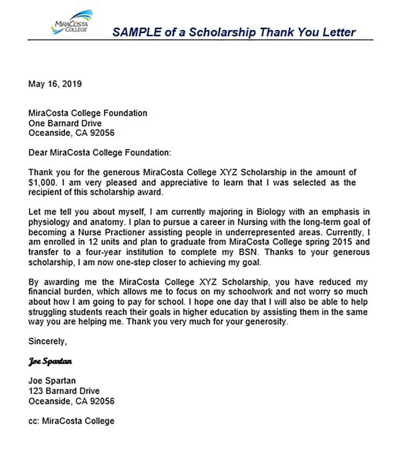 Sample Scholarship Thank You Letter Format mnn