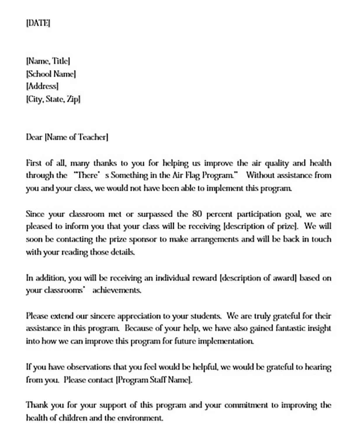 Sample Teacher thank you Letter