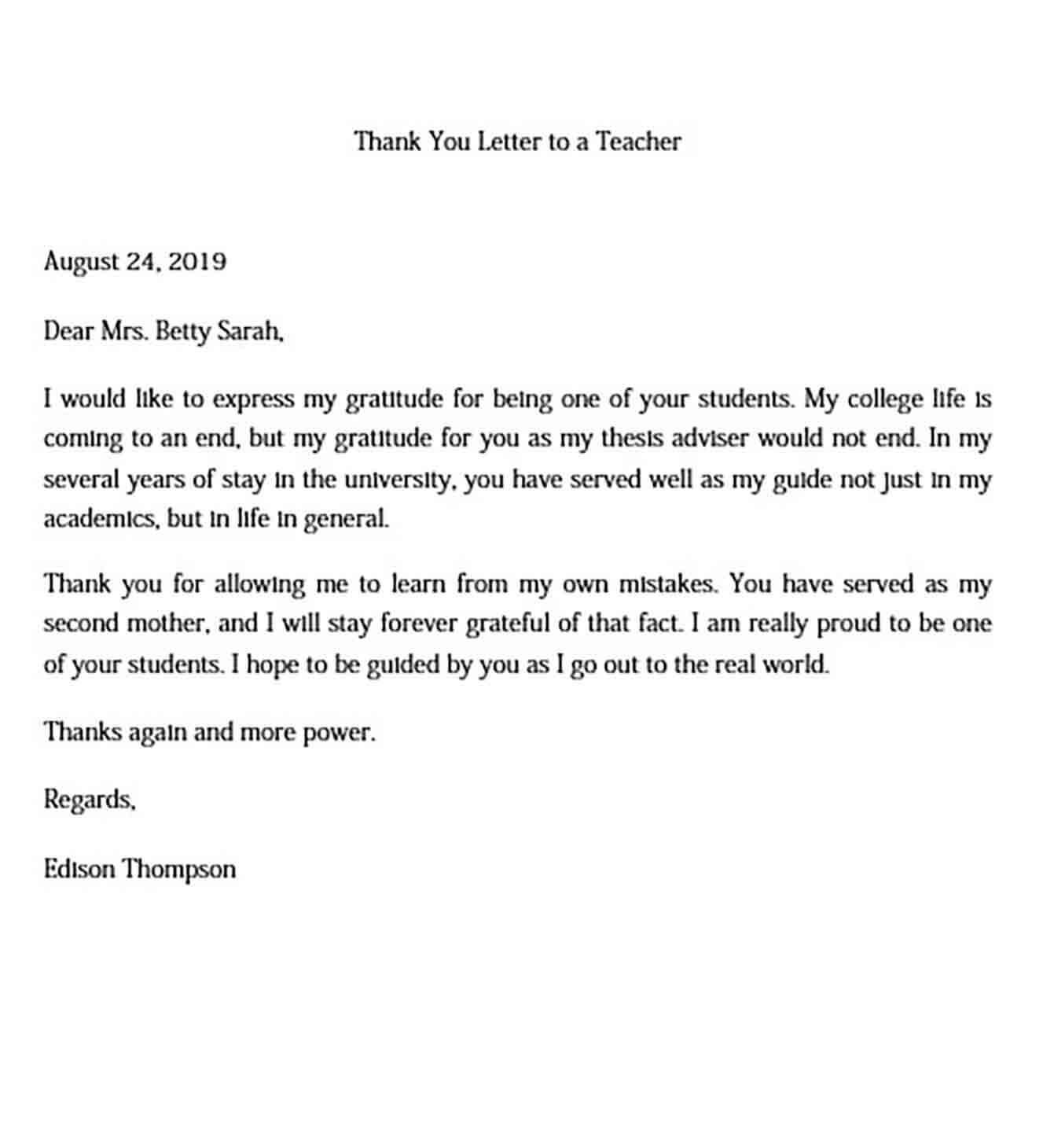 Sample Thank You Letter to a Teacher