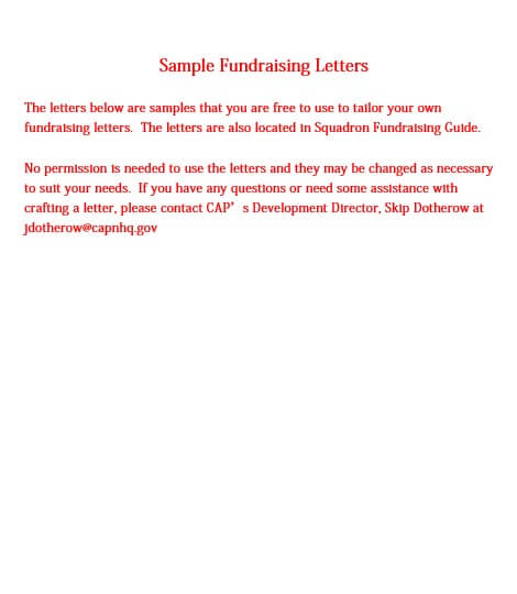Sample fundraising letters Update CFE