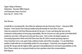Sample mba Recommendation Letter from Employer