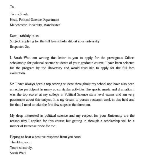 Scholarship Application Letter for University
