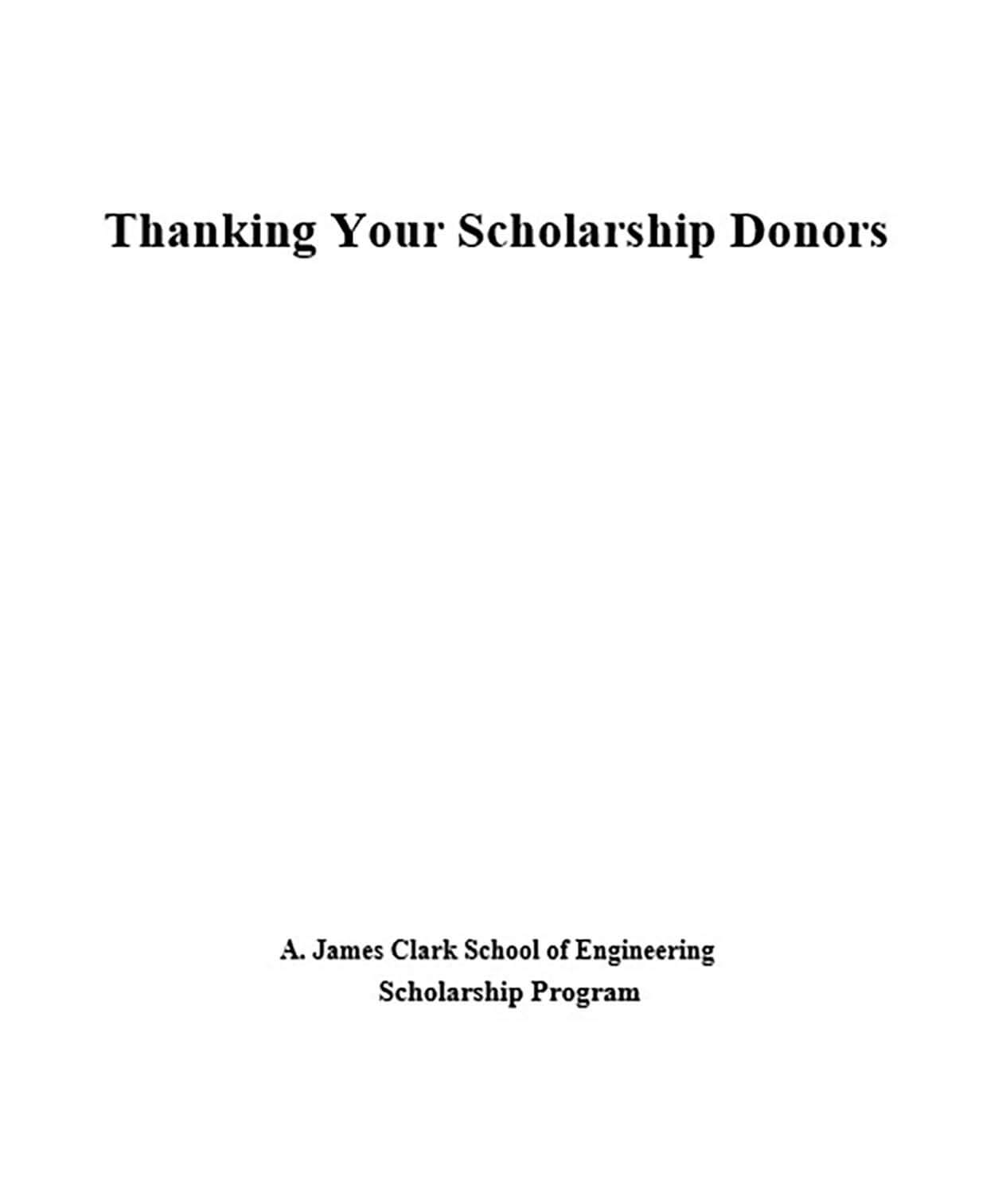 Scholarship Donation Thank You Letter
