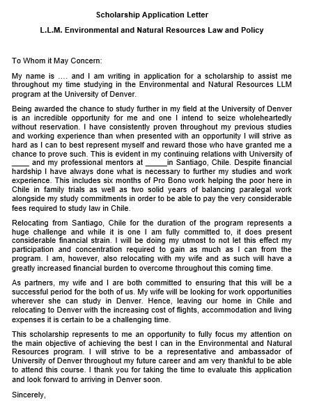 Scholarship Program Application Letter