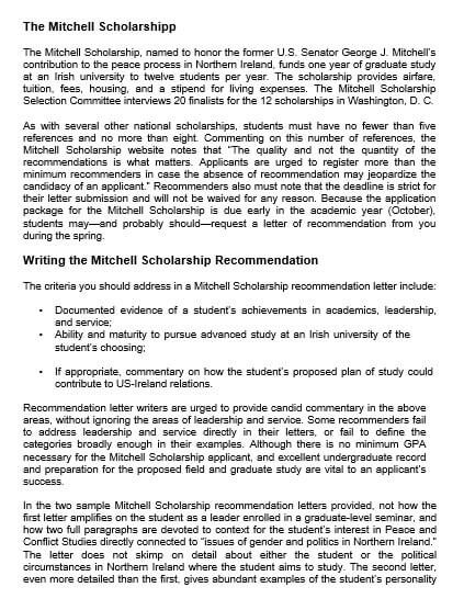 Scholarship Recommendation Letter