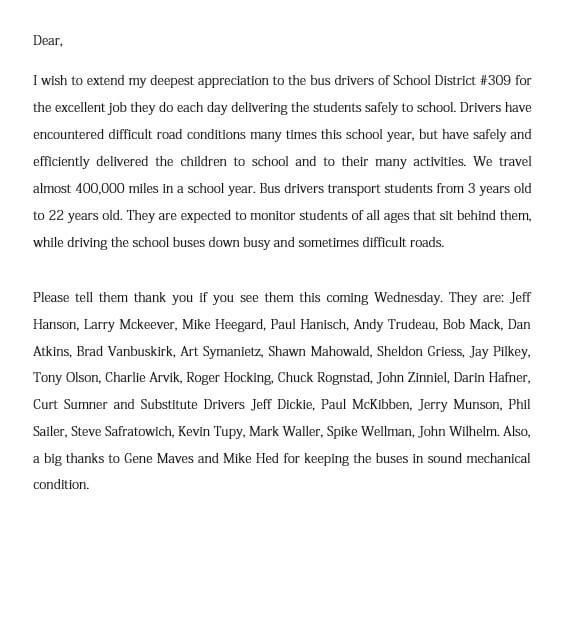 School Bus Driver Appreciation Letter