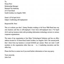Self Employment Letter
