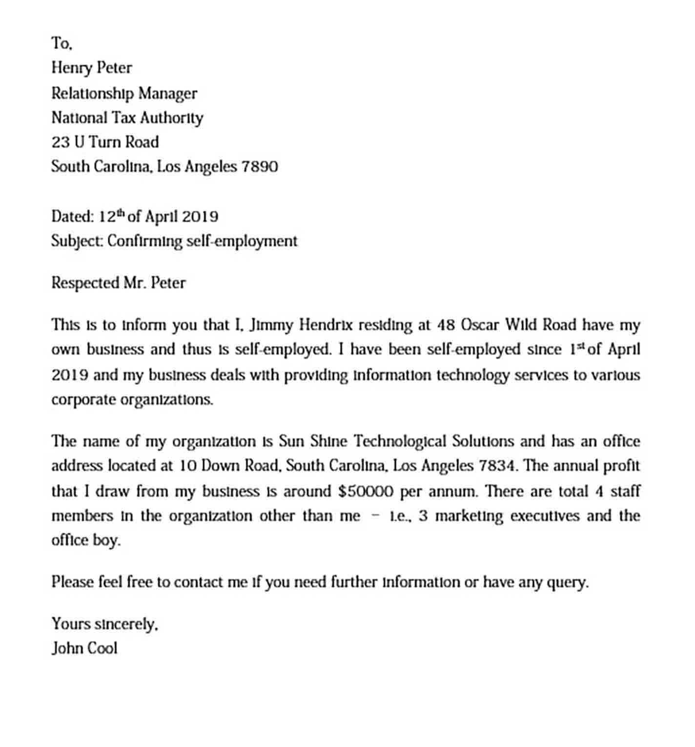 Self Employment Letter
