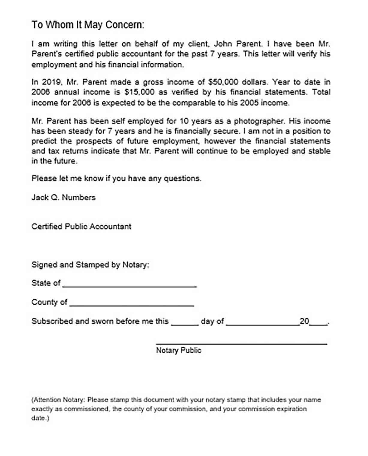 Self Employment Verification Letter