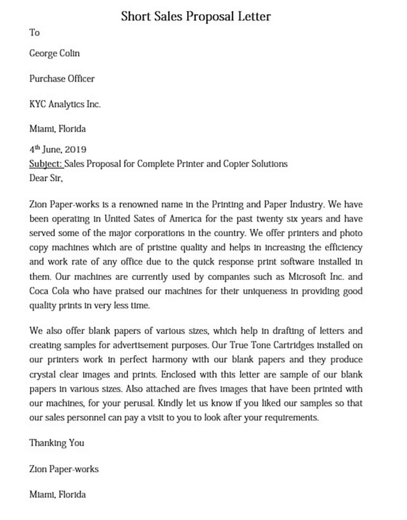 Short Sales Proposal Letter