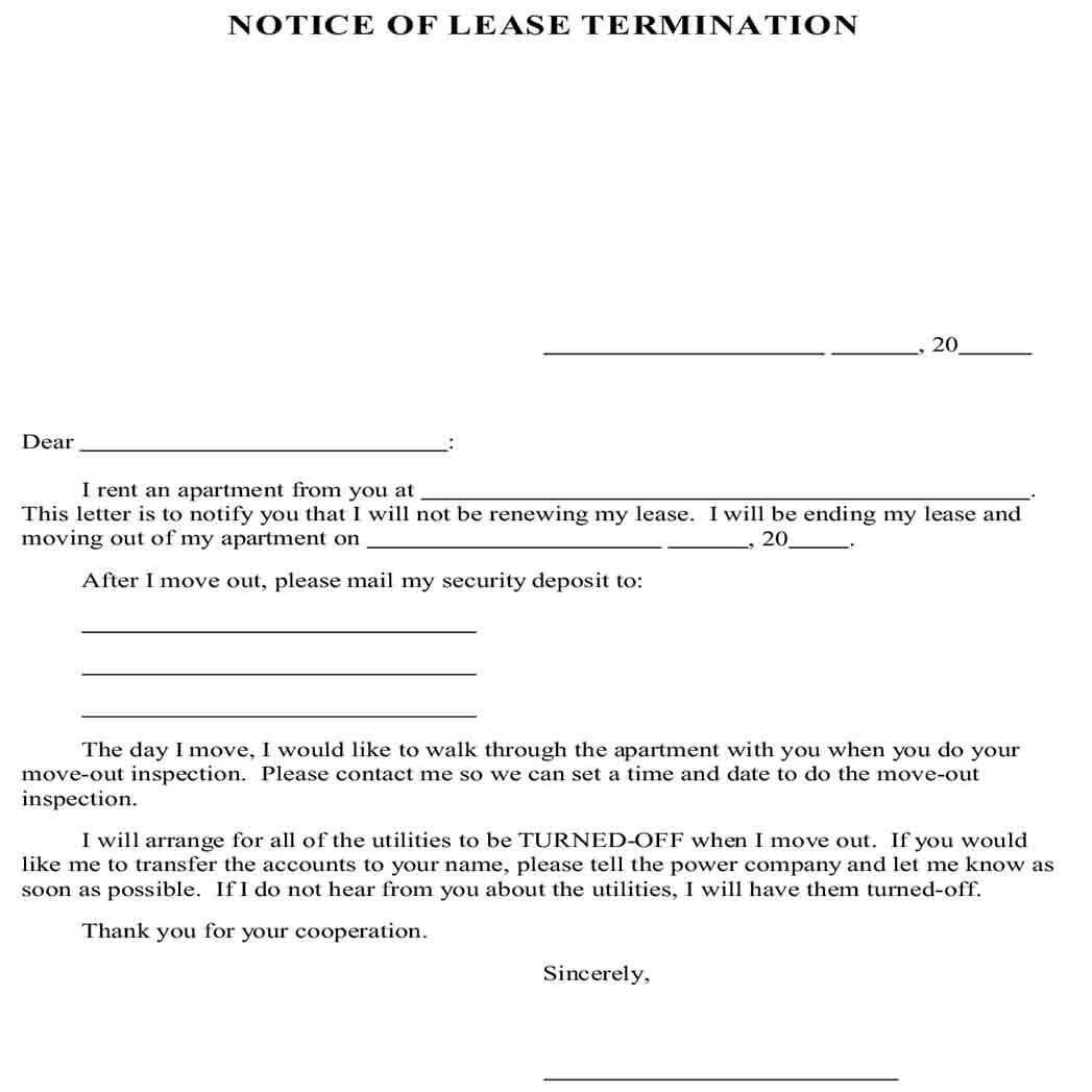 Simple Example Lease Termination Letter