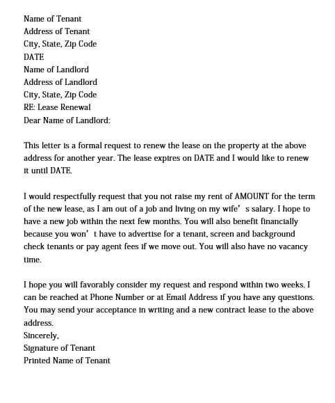 Simple Lease Renewal Letter