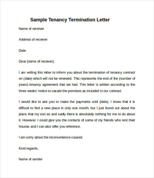 Simple Notice To Vacate Letter templates