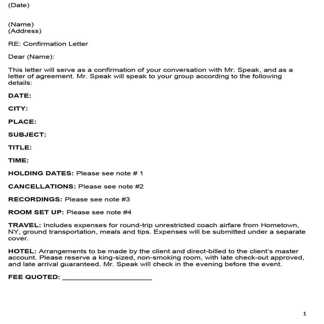 Speaker Agreement Sample Contract