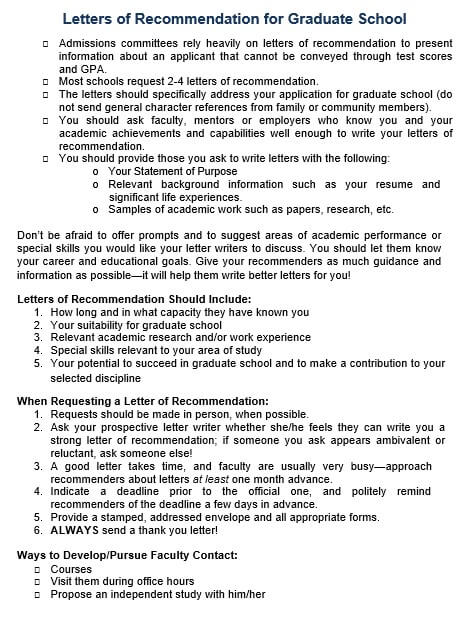 Steps for Letter of Recommendation for Graduate School