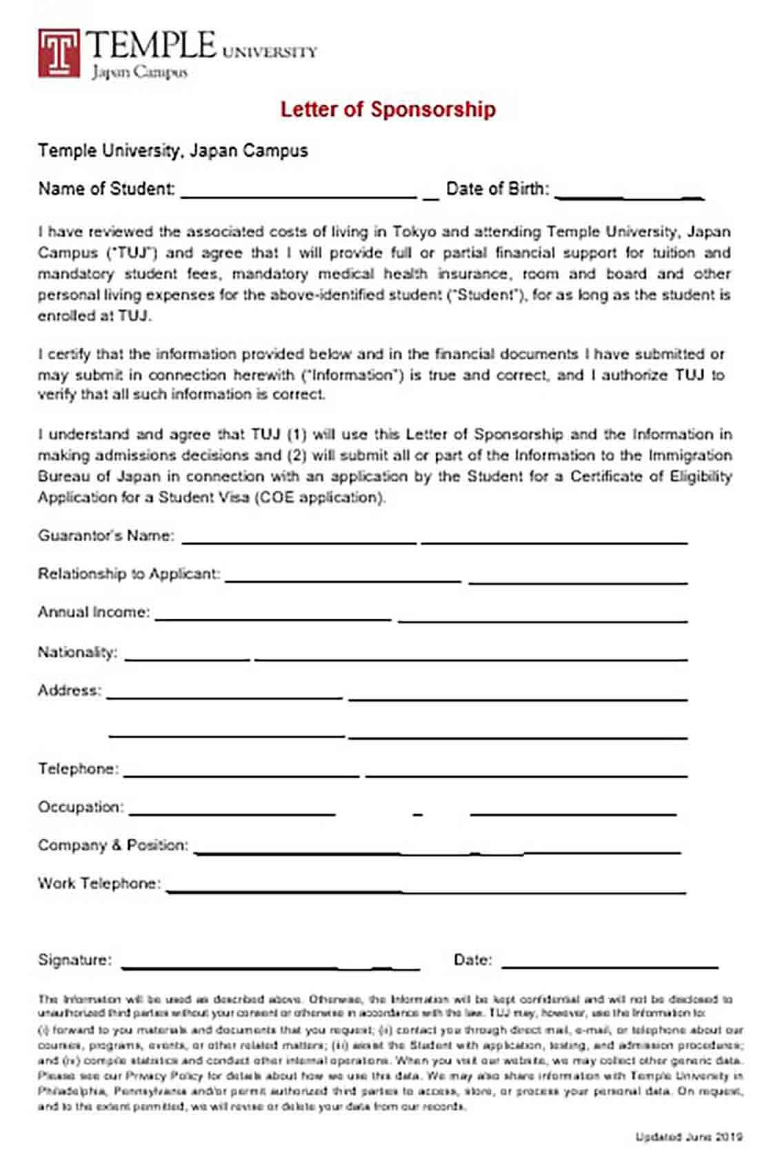 Student Visa Sponsorship Letter