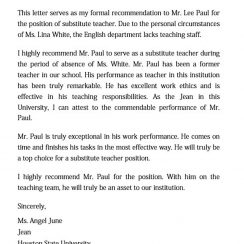 Substitute Letter of Recommendation for a Teacher