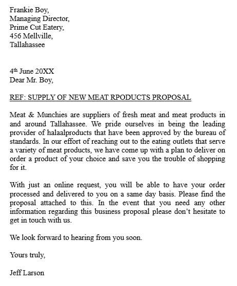 Supplier Business Proposal Letter