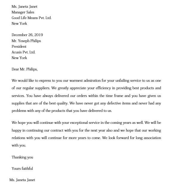 Supplier Performance Appreciation Letter