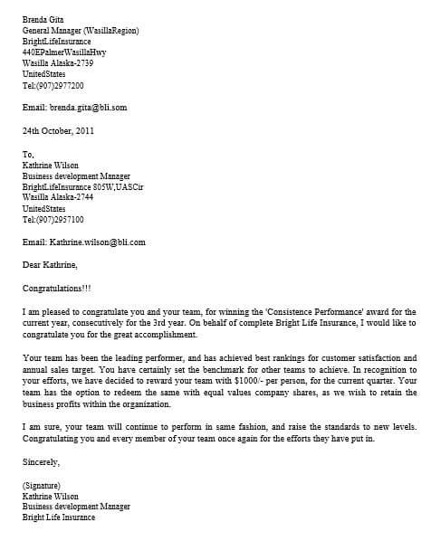 Target Achievement Appreciation Letter