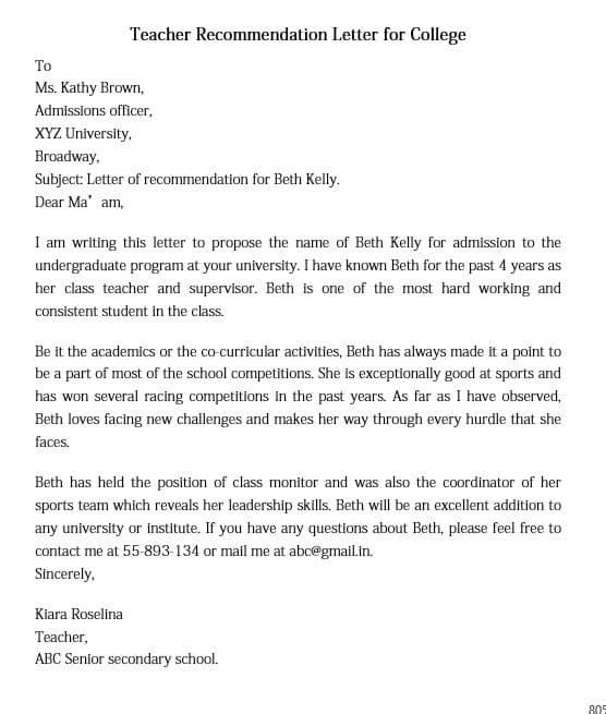 Teacher Recommendation Letter for College