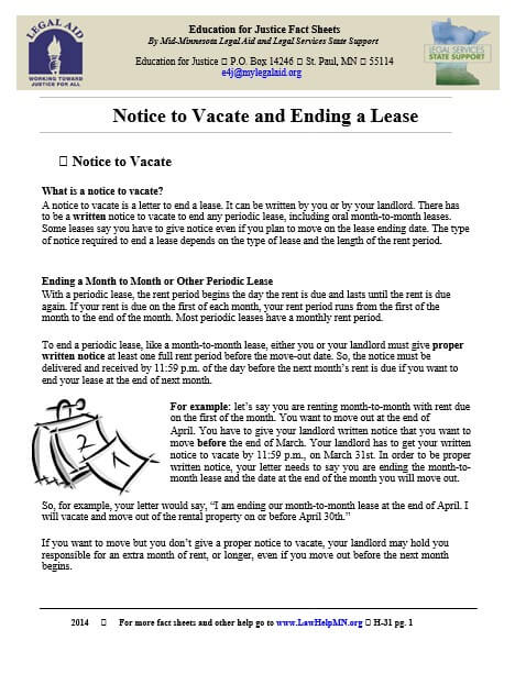 Tenant Vacating Notice