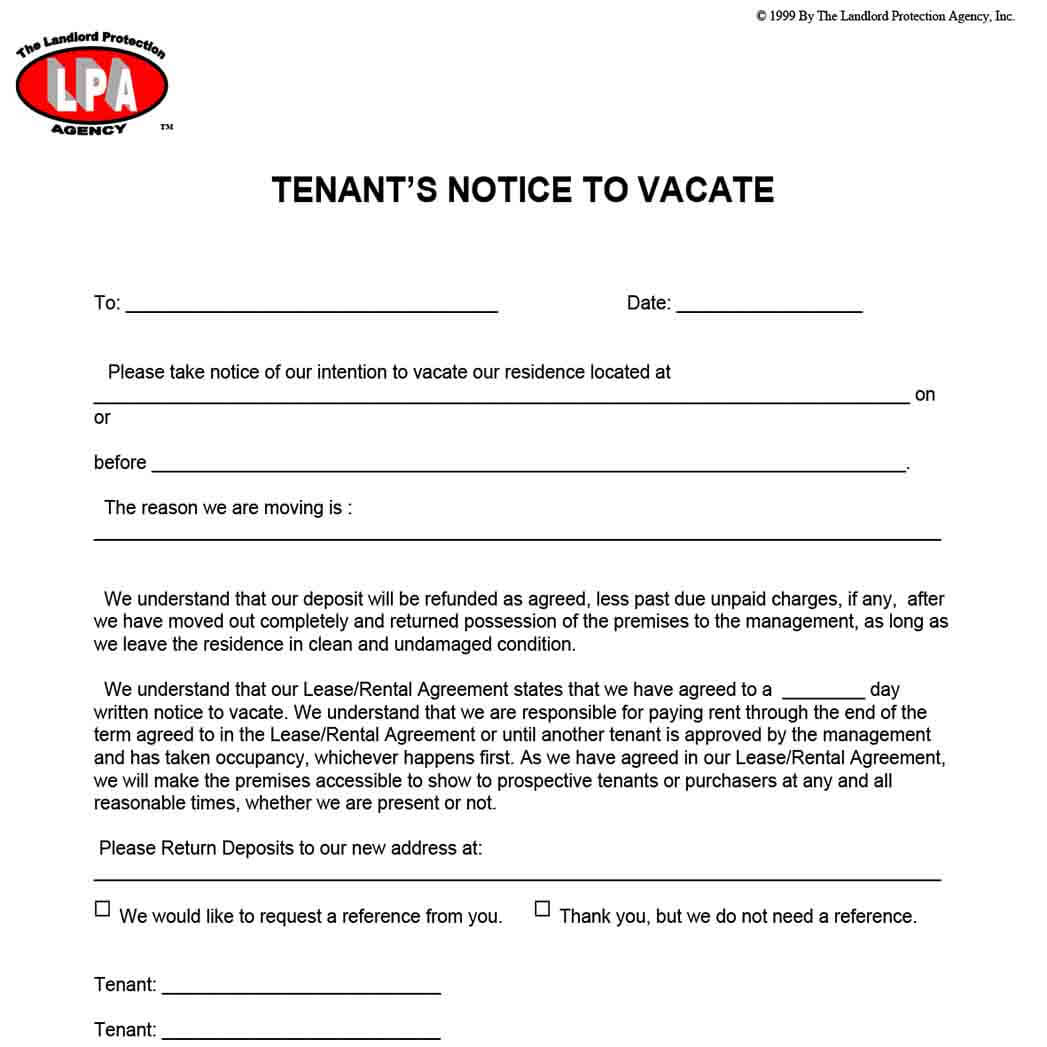 Tenants Notice To Vacate