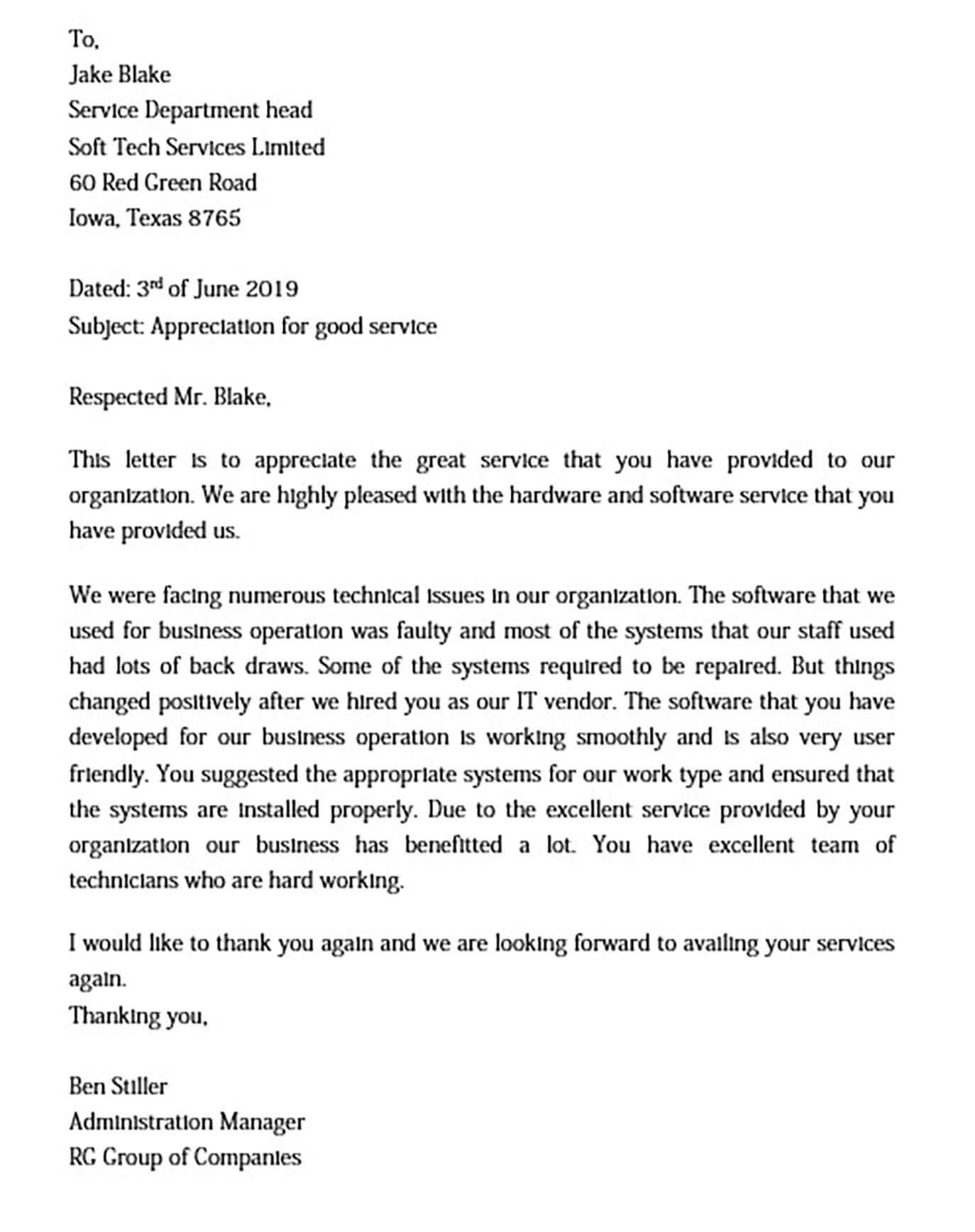 Thank You Appreciation Letter for Service