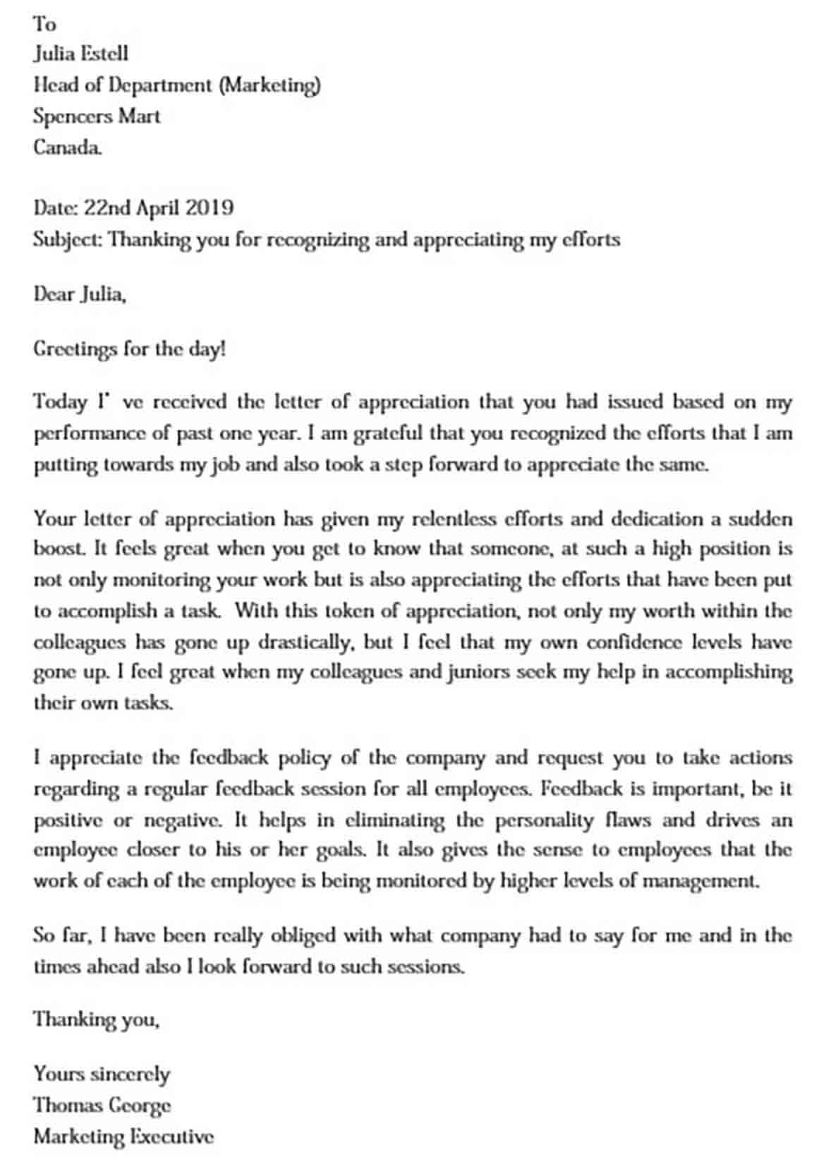 Thank You Appreciation Letter to Boss