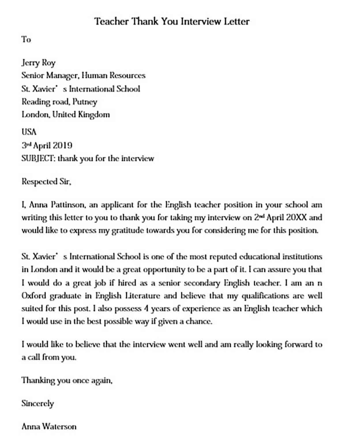 Thank You Interview Letter to Teacher
