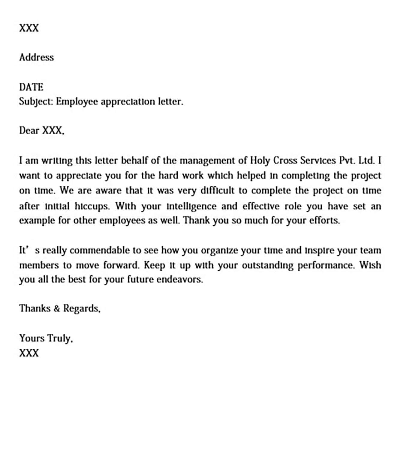 Thank You Letter for Appreciation Received from Boss