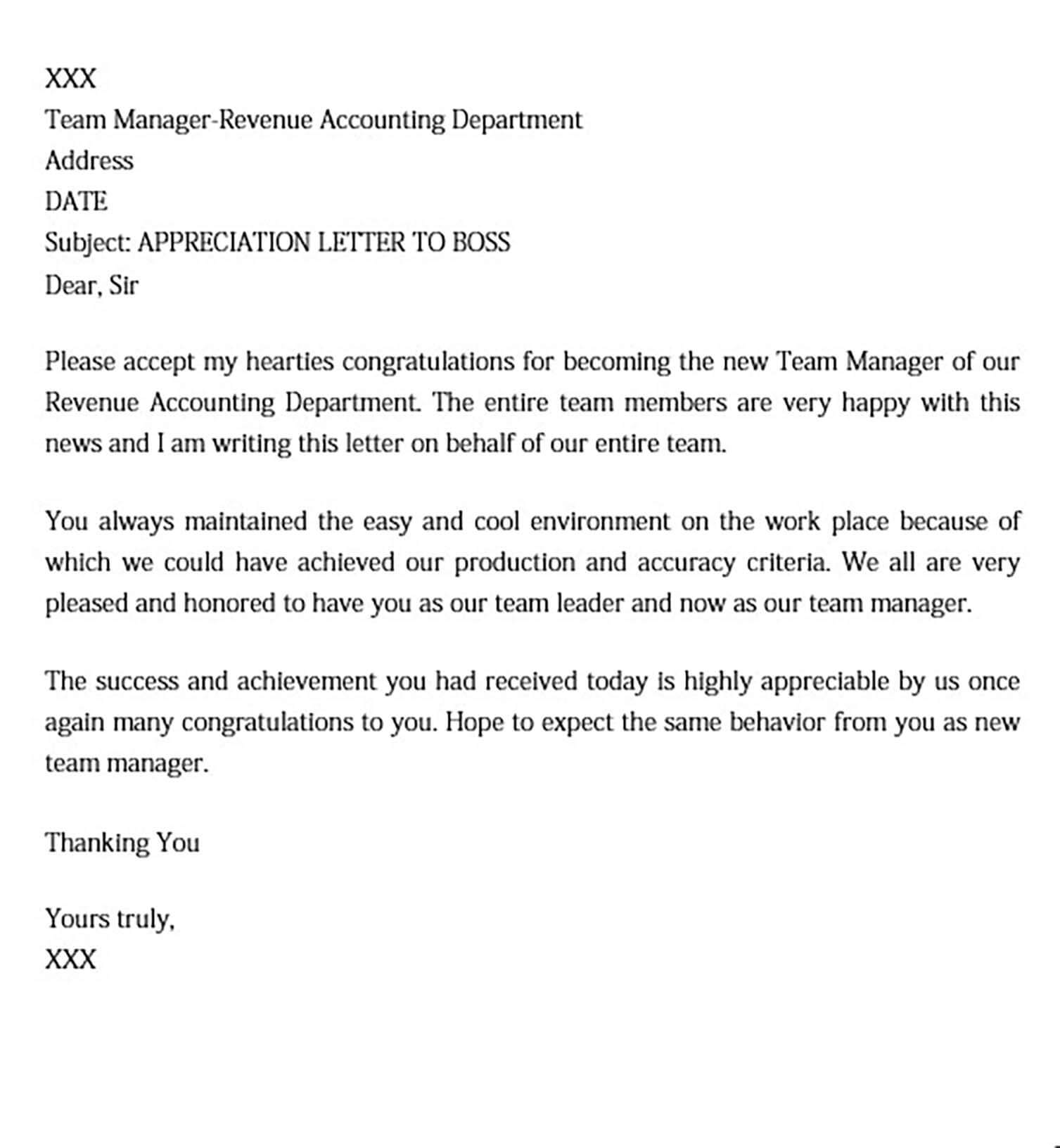 Thank You Letter for Appreciation for Boss