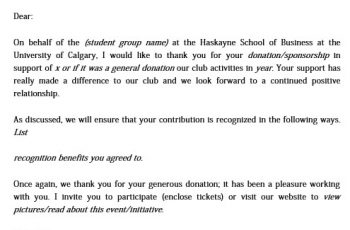 Thank You Letter for Donation of School