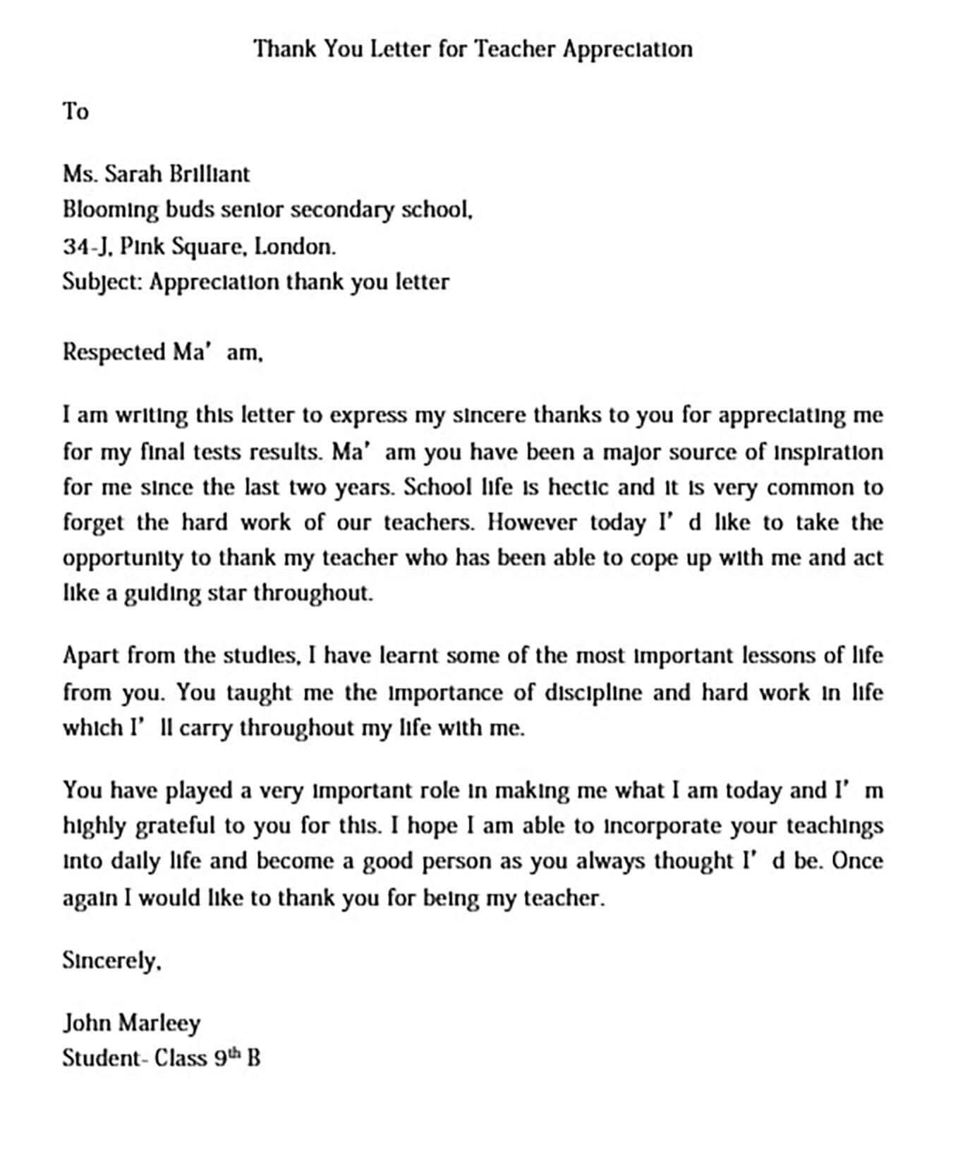 Thank You Letter for Teacher Appreciation