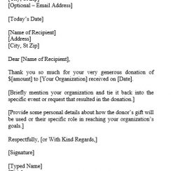 Thank You Letter templates Donation
