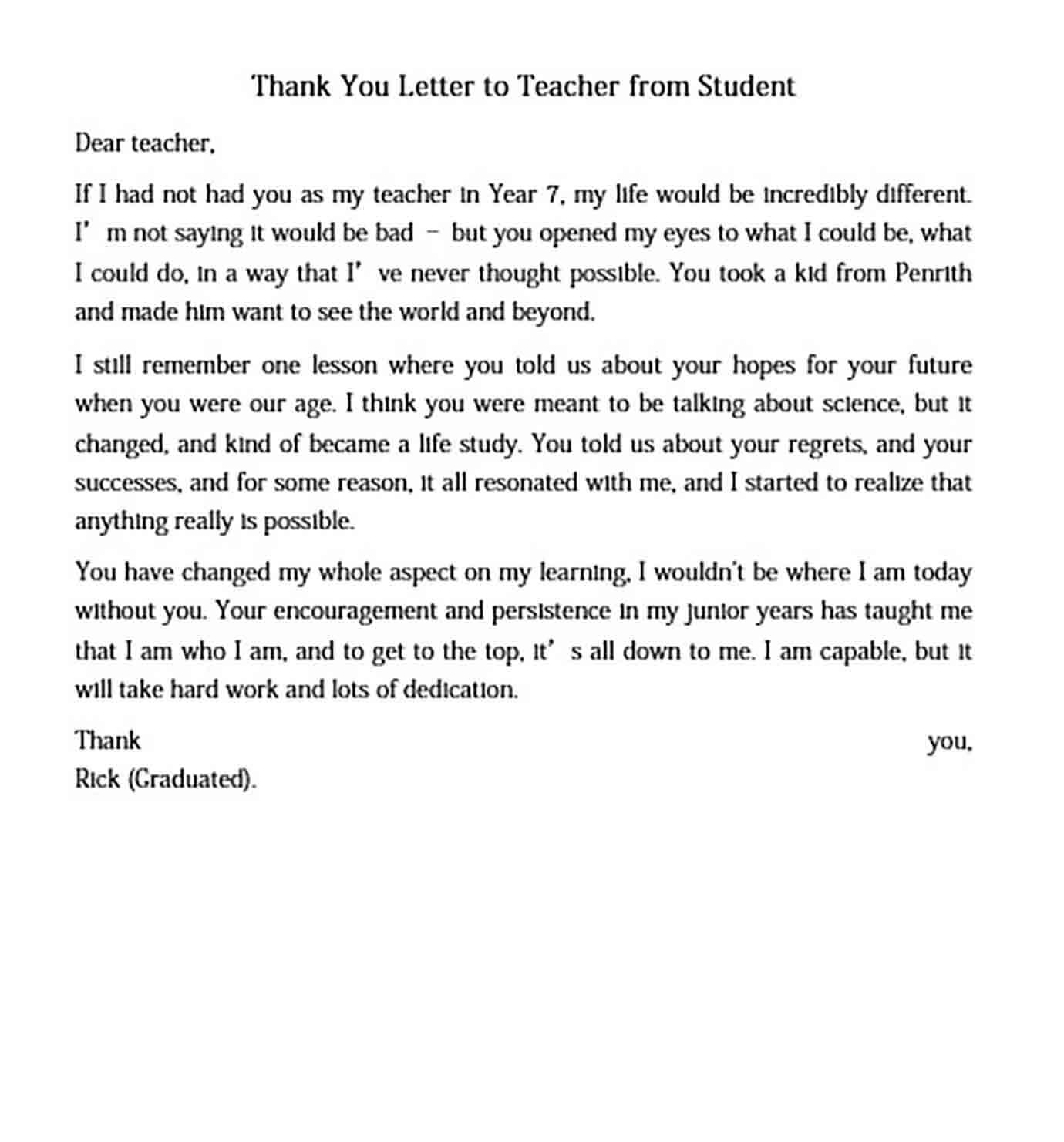 Thank You Letter to Teacher from Student